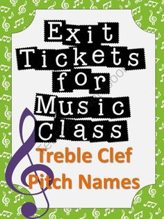 Exit Tickets Formative Assessments for Music Class-TREBLE CLEF PITCHES from The Bulletin Board Lady on TeachersNotebook.com -  (12 pages)  - Formative assessment in music class has never been easier!  Exit tickets or exit passes are a great way to gauge student understanding so that your planning time is more effective and your students� performance improves.  Plan a few extra minutes at the e