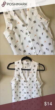 H&M Safari print V-Neck Button up Blouse H&M Conscious Collection Safari print V-Neck Button up Blouse. Size: 4. White w/ Print.      Worn once. In great condition with tag.           Will accept offers H&M Tops Button Down Shirts