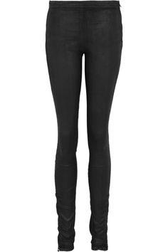 Coated mid-rise stretch-denim leggings by Faith Connexion