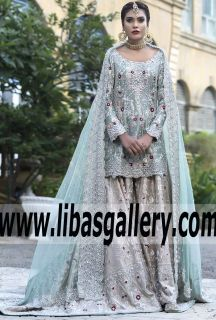 da7eaecce8c Breathtaking Light Blue Arum Designer Bridal Dress for Wedding and Valima  Events