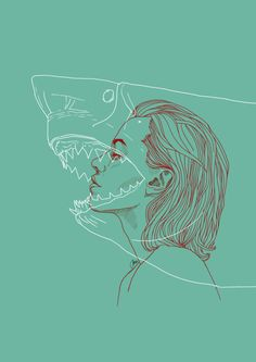 Liudas Barkauskas Shark / Digital illustration / 2016 This is a part of my illustration series TOTEM Illustrations, Illustration Art, Grafik Design, Art Plastique, Art Inspo, Art Reference, Art Drawings, Fish Drawings, Cool Art
