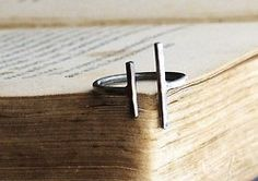 etsy:    Parallel Bars Sterling Silver Ring by SDMarieJewelry.