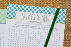 free printable articles of faith word search for lds kids