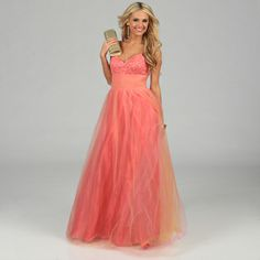 @Overstock.com.com - NV Couture Women's Coral Pleated Tulle Ball Gown - Look gorgeous in this coral gown featuring a beautiful beaded bust, pleated cummerbund tulle construction, and a flattering shutter pleated waist. This fully lined dress is finished with sewn-in bra cups for a perfect fit.  http://www.overstock.com/Clothing-Shoes/NV-Couture-Womens-Coral-Pleated-Tulle-Ball-Gown/7684951/product.html?CID=214117 $117.99