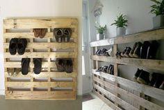 Schoenenrek van oude paletten. Meer ideeën met oude paletten op: http://www.interieurdesigner.be/interieurtips/detail/creatief-interieur-met-paletten