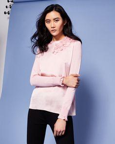 Flower detail jumper - Baby Pink | Knitwear | Ted Baker UK