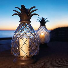 Pineapple Hurricane Lantern with Tropical Candles and Candle Holders