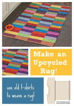 Tired of all those old T-shirts laying around your bedroom? Upcycle them into a colorful woven rug!