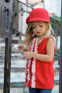 valentine's day red jumper dress with polka dot ruffles