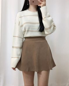 Korean fashion. Style skirt outfits like you would be comfortable wearing it skirt lenght wise. #koreanfashionstyles,