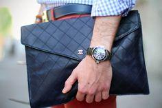 Filippo Cirulli in bespoke shirt, Topman pants, Blfiore loafers, Hermes belt, Chanel document holder, Chanel J12