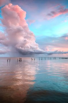 "Pastel pink and azure blue seascape. Previous pinner wrote: ""The radiant beauty of nature is breathtaking."""