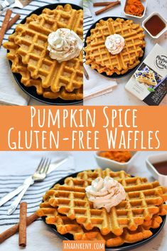 Pumpkin Spice Gluten-free Waffles are the best fall breakfast with the warm pumpkin and cinnamon flavors.  They're crispy and the best gluten-free waffle recipe! anaankeny.com #waffles #pumpkinspicewaffles #glutenfreewaffles #dairyfreewaffles #eggfreewaffles #veganwaffles #pumpkinspice #healthybreakfastideas