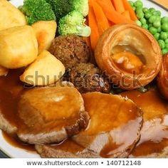 Roast Pork Sunday Dinner Vegetables Gravy Stock Photo (Edit Now) 140712148 Food Log, A Food, Traditional Christmas Dinner Menu, Sunday Roast Dinner, Pie And Mash, Exotic Food, Pork Roast, Meals, Dinners