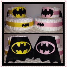 Batman themed boys' and girls' diaper cakes