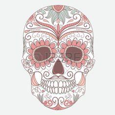 Jour du crâne mort coloré avec ornement floral Banque d'images - 25077052