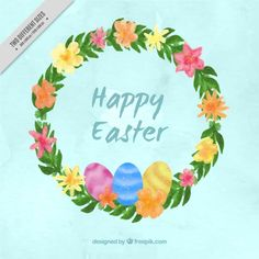 Happy Easter floral wreath Free Vector