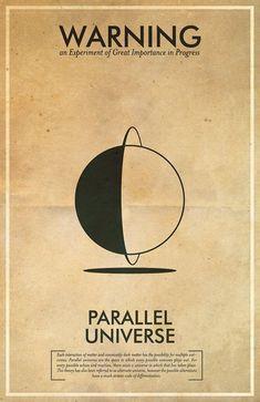 Parallel Universe Warning Poster // Fringe Science Illustration Poster // Vintage Science Fiction Wall Art