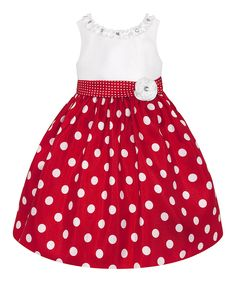 Look at this #zulilyfind! Red & White Polka Dot Dress - Toddler & Girls by American Princess #zulilyfinds