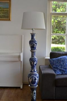 "Beautiful lamp of ""Delftsblauw Porcelain"" made by my sister-in law Natascha @ www. servieslamp.nl"