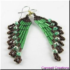 Native American Style Beadwork Seed Bead Earrings by carosell