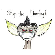 Sketch of the day no 743 in my Daler Rowney art journal: Stop the burning says the sock GREMLIN