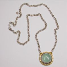 Sterling Silver layered with Blackened Silver and 24K Gold, featuring a Chalcedony Pendant Necklace by GURHAN