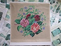 Antique Hand Painted Berlin Woolwork Embroidery Chart- Carl.F.W. Wicht- Bouquet | eBay