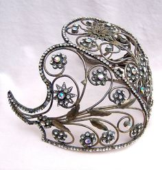 Vintage Indonesian headdress jewelled cap wedding tiara hair accessory belly dance tribal fusion headpiece hair jewelry