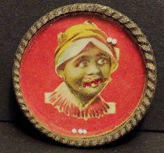 Antique Black Americana Dexterity Game Hand Held Tin RARE Girl Mammy Original