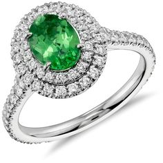 Blue Nile Tsavorite and Diamond Double Halo Ring ($4,200) ❤ liked on Polyvore featuring jewelry, rings, pandora jewelry, 18k diamond ring, diamond jewellery, diamond jewelry and 18 karat gold ring
