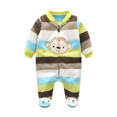 2cfc6a412fcc 3M-12M Baby Winter Warm Fleece Clothing Set for Boys Cartoon Monkey Infant  Girls Clothes Newborn Overalls Baby Jumpsuit
