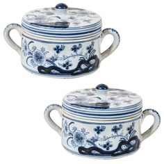Pair of Blue and White Dutch Delft Covered Pots | From a unique collection of antique and modern delft and faience at https://www.1stdibs.com/furniture/dining-entertaining/delft-faience/ Pair of Blue and White Dutch Delft Covered Pots  Offered By Bardith  $3,100