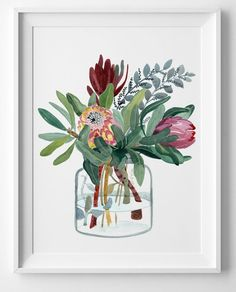 Australia Wall Art Print Large Watercolour flowers illustration Print Botanical Protea Floral gift for her Limited Edition by Sally Browne Protea Art, Wall Art Prints, Fine Art Prints, Inspiration Art, Watercolor Print, Watercolour Flowers, Australian Art, Botanical Art, Etsy