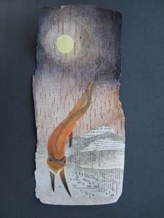 """Fox Brings Night to the Valley"""", watercolor, pen, collage on birch bark"""