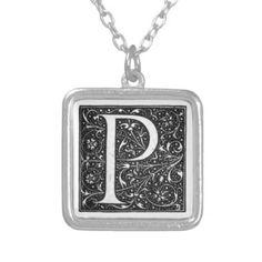 Vintage Illuminated Monogram Letter P Necklace - initial gift idea style unique special diy