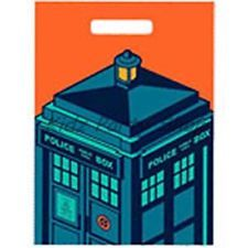 Doctor Who Birthday Party - 6 Plastic Loot Bags  - Free Postage in UK