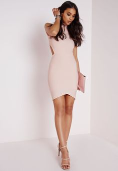 Missguided - Bandage Wrap Open Back Bodycon Dress Nude