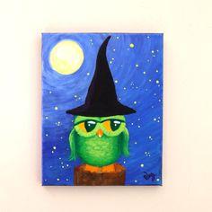 Original Acrylic Painting,  OWL WITCH,   8x10 Home Decor Wall Art  by nJoyArt