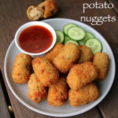 potato nuggets recipe, spicy potato nuggets, potato snacks recipes with step by step photo/video. vegetarian version of the chicken McNuggets by McDonald's. Pakora Recipes, Cutlets Recipes, Paratha Recipes, Paneer Recipes, Spicy Recipes, Snacks Recipes, Vegetarian Recipes, Indian Snacks, Indian Food Recipes