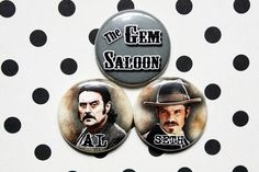 Deadwood One Inch Pinback Button Set by ThereWillBeButtons on Etsy