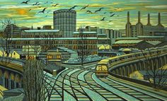Gail Brodholt is a leading painter and linocut printmaker of contemporary urban landscape. Much of her work depicts the London transport network and the journeys made across the city. Linocut Prints, Art Prints, Block Prints, Jackson's Art, English Artists, London Art, Urban Landscape, Woodblock Print, Art Blog