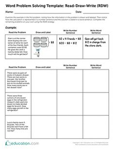 Math problem solving template: read draw write: common core strategies.