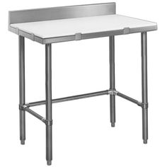 """A versatile addition to any bakery, butcher shop, or food processing plant, this Eagle Group CT2436S-BS 24"""" x 36"""" cutting table offers a sturdy surface to cut meats, slice breads, and more! This table features a 1/2"""" thick polymer work / cutting surface, mounted on a 1 1/2"""" square stainless steel tubular frame for stability. Additionally, the top is removable for easy cleaning, and locks into place using tabs along the tabletop frame. A 4 1/2"""" stai..."""