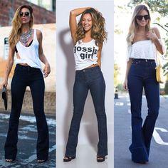 Resultado de imagem para calça flare jeans look