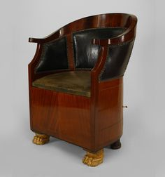 French Empire seating chair/arm chair leather