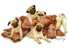 "Pugs in a Rug image size is 11.5"" x 15"" on an 11"" x 17"" paper. Printed on quality fine art paper with 200 year archival inks. Signed and numbered by the artist. It is a Limited Edition of 450."