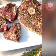 DeBonteKeuken: Marinade voor rundvlees. (knoflook, verse kruiden, rozemarijn, tijm, honing, rode wijnazijn, olijfolie, marinade, vlees, rund, makkelijk, recept)