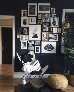 28 ideas for painting a black wall at home - deco Hallway Paint, Man Projects, Hearth And Home, Black Walls, Wall Art Decor, Nook, Interior Design, Decoration Design, Home Decor