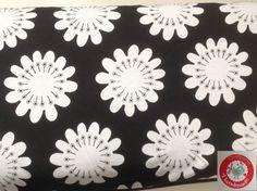 Stoff Blumen - Jersey - Blumen - Extrabreit - schwarz / weiss - ein Designerstück von stoffperle-material bei DaWanda